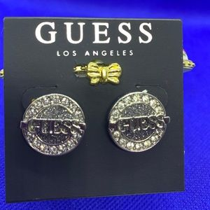 Guess Silver-Tone Button Logo Pave Earrings